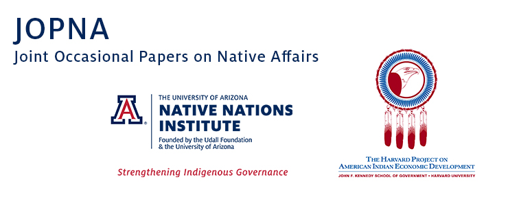 JOPNA Joint Occasional Papers on Native Affairs
