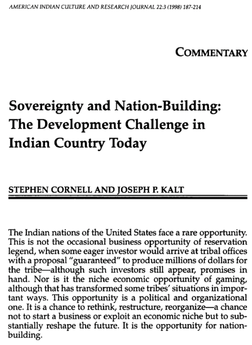 Sovereignty and Nation Building: Development Challenge in Indian Country Today